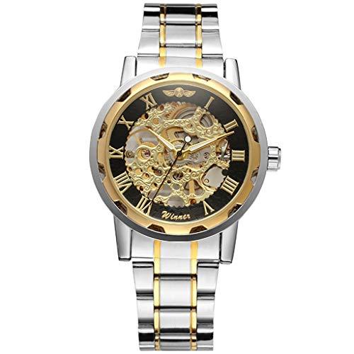 Gold-ton, Valet (Twister Herren Hohl Skelett Mechanische Automatik Armbanduhr Römisches Zifferblatt Edelstahl Armband Männer Uhren Wasserdicht Uhren Mit Box)