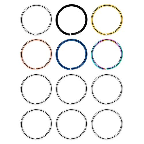 VFUN 12 Pieces Non Pierced Stainless Steel Clip on Closure Round Fake Piercing Nose Lip Ring Helix Cartilage Tragus Ear Hoops 18 Gauge 6mm