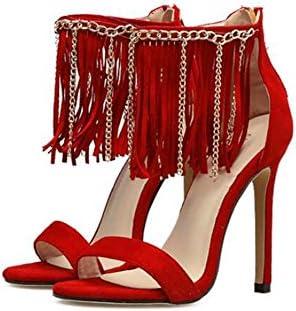 Las mujeres de la bomba 11 cm sandalias de tacón de aguja del dedo del pie abierto D'orsay borla zapatos de vestir...
