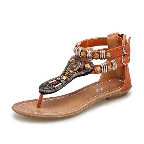 ndals Frauen Sommer Strand Sandalen Perlen Hausschuhe flache Zip Schuhe (Farbe : Braun, größe : 38/UK5.5/US6.5/240mm) (Uk National Kostüm Für Kinder)