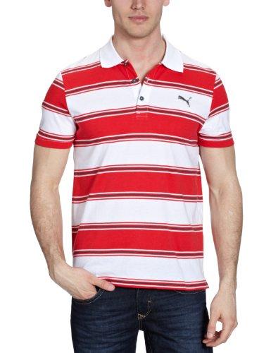 Puma Herren Polo Shirt Striped, White-Bittersweet, XL, 819248 02