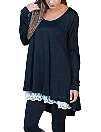 FeelinGirl Women's Crewneck Lace Long Sleeve Loose Layered Tunic Top Blouse Dress