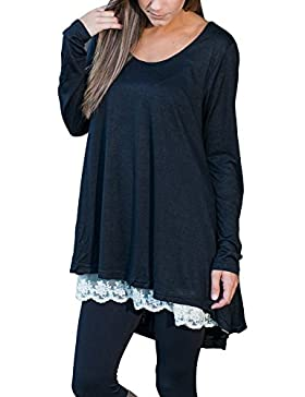 FeelinGirl Blusa Camisa Falda Mangas Largas Encaje Para Mujer