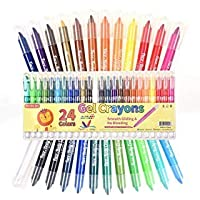 Shuttle Art 24 Colors Gel Crayons, Washable Twistable Non-Toxic Gel Crayons Set for Toddlers Kids and Students, Ideal for Paper Glass and Mirrors