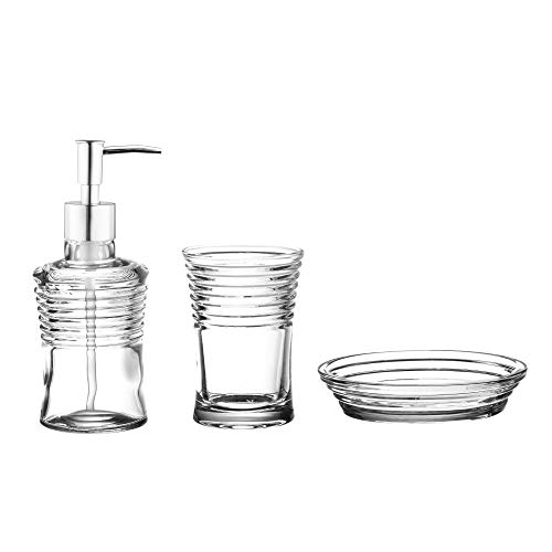 1 Footed Tumbler (American Atelier Elipse Glass 3-Piece Bathroom Accessory Set Includes Lotion Pump Dispenser, Soap Dish and Tumbler Add Style, Convenience and Organization to Your Bath or Kitchen, Clear)