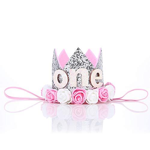 n Tiara Krone Baby First Birthday Hut Sparkle Gold Flower Style mit künstlichen Rosen Blume (Silber) Silber ()