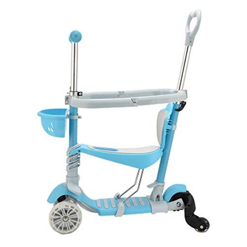 Pang Hu 5-in-1 mit Geländer Roller / 3 Räder Tretroller/mit abnehmbarem Sitz/für Kinder & Kleinkinder, 5 höhenverstellbare Kinder Roller/mit extra Breiten PU-Blinkrädern,Blue