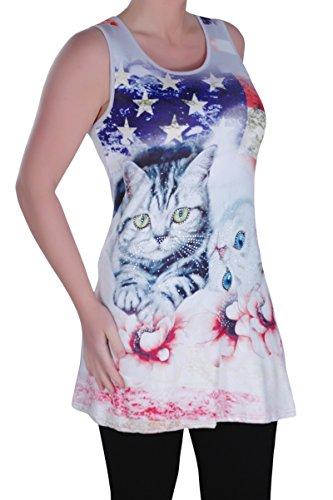 Eyecatch - Kitty Aux Femmes Asymétrique Camisole Dames Amérique Chaton Floral Longue Gilet Tops Design 5 Gris