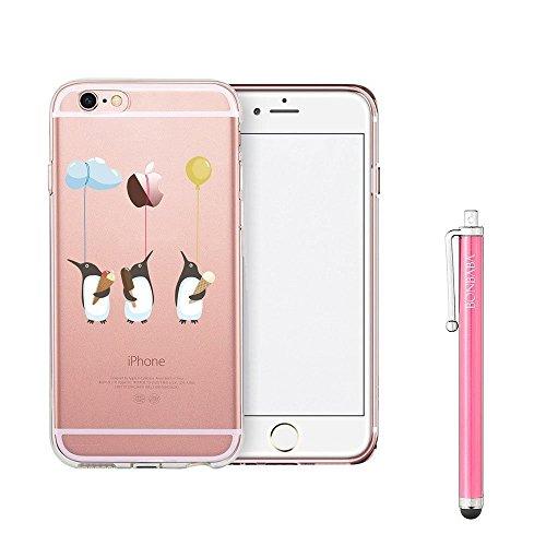 Coque iPhone 7 Housse étui-Case Transparent Liquid Crystal Mandala en TPU Silicone Clair,Protection Ultra Mince Premium,Coque Prime pour iPhone 7 (2016)-les sorcières Pingouin et Ballon