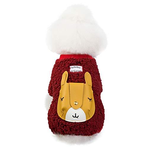 Yowablo Hund Hoodies Haustier-Sweatshirt Wintermantel Vierbeiniger Giraffenmantel Herbst und Winter warm halten (S,rot)