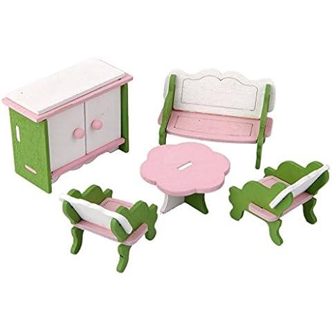 Set Muebles de Habitación Miniatura Madera Decoración para Casa de Muñecas