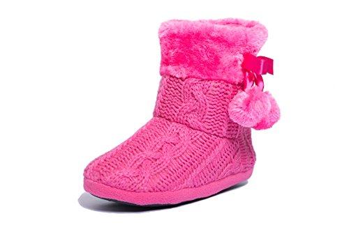 Damen Mädchen Pantoffeln Hausschuhe Schuhe mit weichen Poms Rosa