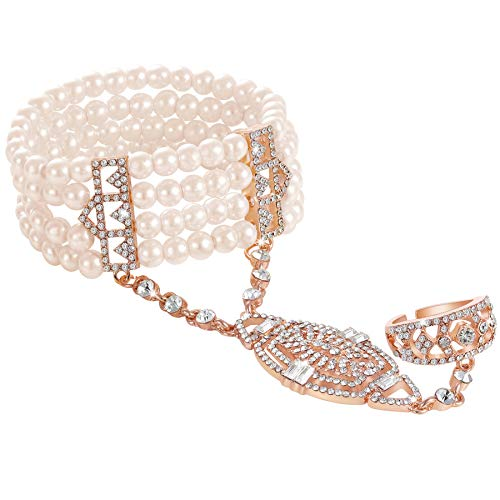 BABEYOND Damen Ring Armband Set Retro 1920er Party Pailetten und Imitation Perlen Verbunden Ring und Armband Inspiriert von The Great Gatsby Bling Mode Schmuck (Rose Gold)