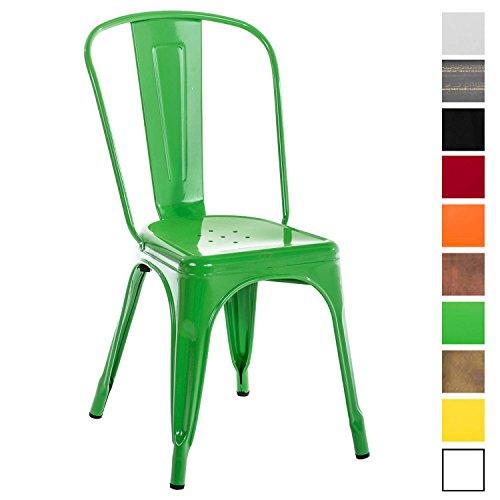 CLP Metallstuhl Benedikt mit hoher Rückenlehne und Bodenschonern I Stapelstuhl aus Metall mit Einer Sitzhöhe von: 46 cm I erhältlich Grün -