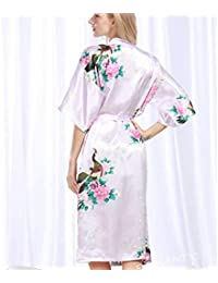 Pajamas Traje de Pijama, algodón con Albornoz de Bolsillo, Pijama de poliéster Femenino de Verano, Puede Usar Corto (Manga) Pijama Largo de Albornoz, Albornoz, camisón Impreso Flojo, Servicio a domic
