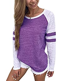 f491aa5c58d600 YOINS Women Long Sleeve Tshirts Ladies Jumpers Baseball Tops Round Neck  Striped Pullover