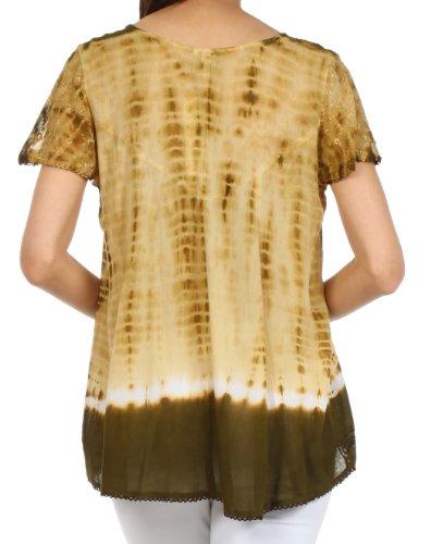 SakkasNatasha Pailletten-Tie-Dye-Bluse Olive