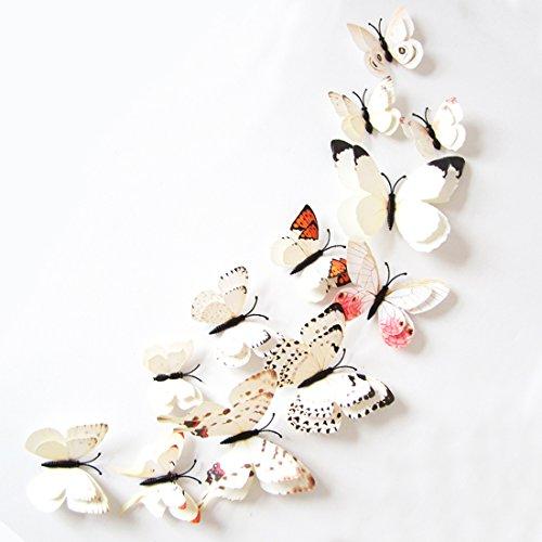 3D Schmetterlinge Doppelflügel Effekt Blumen 12er Set Dekoration Wandtattoo (Weiß)
