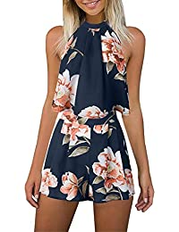 699db394625 Gorgeya Women s Sexy Sleeveless Halterneck Floral Print Beach Romper Shorts  2 Piece Mini Playsuit