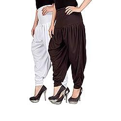 Navyataa Womens Lycra Dhoti Pants For Women Patiyala Dhoti Lycra Salwar Free Size (Pack Of 2) White & Brown
