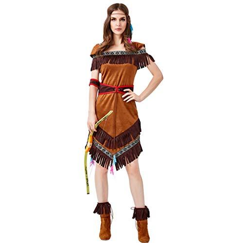 Archer Für Erwachsenen Kostüm - LLCOFFGA Halloween Cosplay Kostüm Indian Native American Archer Spielen Flache Schulter Gedruckt Quaste Kleid Maskerade Dress Up,M