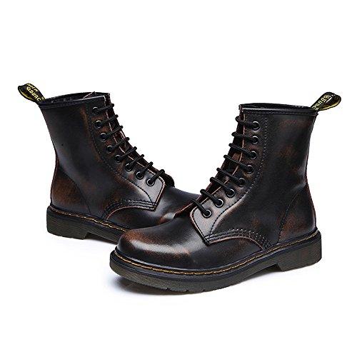 uBeauty Femme Martin Bottes Flattie Sport Boots Chaussures Classiques Bottines À Lacets Marron