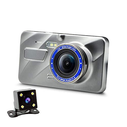 4-zoll-metall, Touchscreen-dual-lens-driving-recorder, Hd-nachtsicht-rückfahrbild 1080p, G-sensor-kollisionserkennung, 170 ° Weitwinkel, Bewegungserkenung