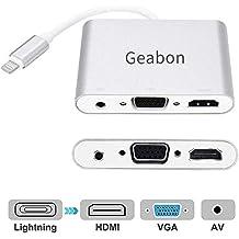 Geabon Compatible con Pad Phone a HDMI VGA AV Adapter, 4 en 1 HDMI/VGA/Audio/Video Adaptador convertidor Digital Compatible con Phone X MAX XR 8 7 6s Plus ...