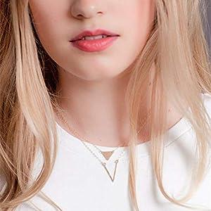 XUHAHAXL Halskette/Einfache Und Vielseitige Mode V Anhänger Dreieck Pailletten Multi Layer Halskette Halskette