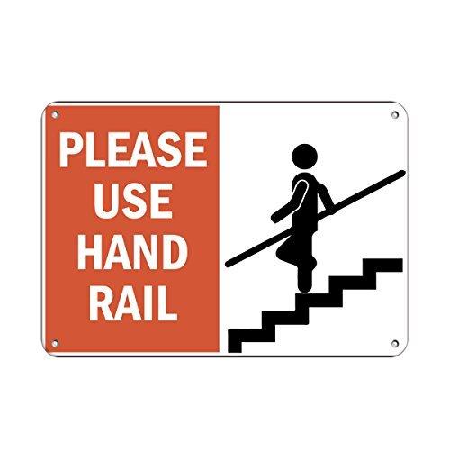 Monsety Blechschild, Aufschrift Please Use Hand Rail Hazard Schild, Handlaufschilder, dekoratives Raumschild, lustiges Aluminium
