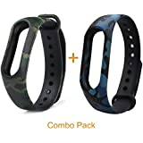 Epaal Premium Camouflage Pattern Watch Strap for Xiaomi Mi Band HRX & Mi Band 2 (Army Blue + Army Green)
