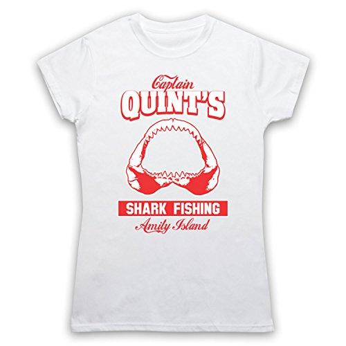 Inspiriert durch Jaws Quints Shark Fishing Inoffiziell Damen T-Shirt Weis