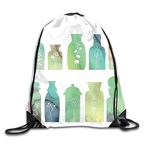 EELKKO Drawstring Backpack Gym Bags Storage Backpack, Vintage Watercolor Botanical Herbal Treatment Bottles Medicine Aromatic Nature,Deluxe Bundle Backpack Outdoor Sports Portable Daypack