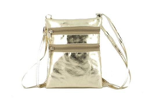che Schulter/Cross-Body-Kunstleder metallisch Gold- oder Tasche in Gold Metallic ()