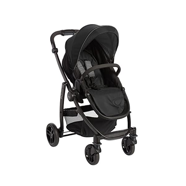 Garco Evo Pushchair and Luxury Carrycot, Black/Grey with SnugRide iSize Infant Car Seat, Midnight Black Graco Versatile pushchair with reversible seat that can lie flat Carrycot suitable from birth to approximately 6 months Rear-facing car seat for infants, suitable from birth up to 15 months (40-87cms) 2