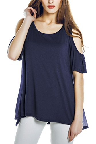Urban GoCo Femmes Casual Chemisier Grande Taille Hors Epaule T-Shirt Manches Courtes Tunique Tops Bleu Marine