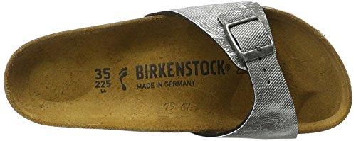 Birkenstock Madrid Birko-Flor, Ciabatte Unisex-Adulto Grau (Used Jeans Grey)