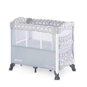 Hauck Sleep'n Care Plus - Minicuna, 5 piezas, 80 x 44 cm, con colchón, ruedas, bolsas, barandilla lateral de bajar para acceder al bebe, bolsa de transporte, plegado fácil, gris