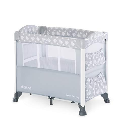 Hauck Sleep\'n Care Plus - Minicuna, 5 piezas, con colchón, ruedas, bolsas, barandilla lateral de bajar para acceder al bebe, bolsa de transporte, plegado fácil, gris