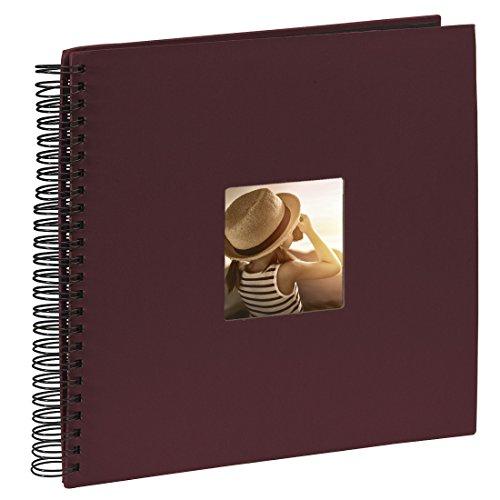 Hama Jumbo Fotoalbum (36 x 32 cm, 50 schwarze Seiten, 25 Blatt, mit Ausschnitt für Bildeinschub, Fotobuch bordeaux)