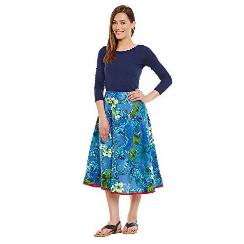 Damen Bekleidung Baumwolle gedruckt mittellanger Rock a-Linie Blau 1