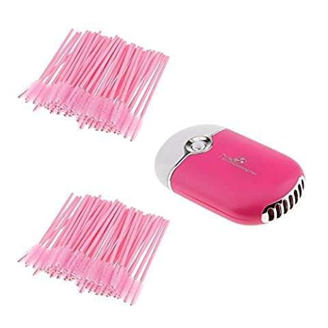 Sharplace USB Portable Mini Fan Air Conditioning Blower Eyelash Extension Glue Quick Dryer Tool + 100pcs Disposable Eyelash Brushes Mascara Wands Spoolers Set Rose