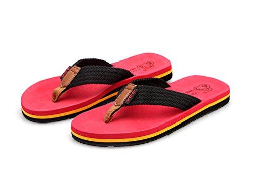 Yiiquan Herren Strand Schuhe Sommer Zehentrenner Flach Slipper Flip-Flops Rot #2