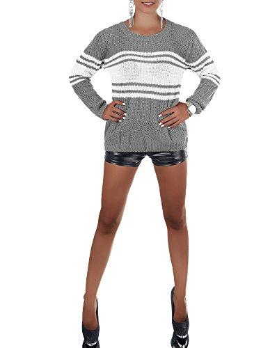 Damen Pullover im Grobstrickmuster, gestreift mit langen Ärmel und Rundhalsausschnitt, viele Farben, Gr. 34-38 Steingrau