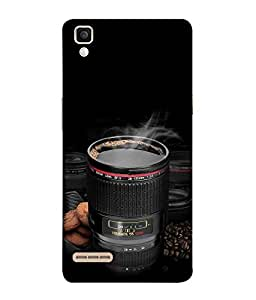 FUSON Designer Back Case Cover for Oppo F1 :: A35 (Black BackgroundCoffee Mugs digital meter )
