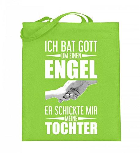 Hochwertiger Jutebeutel (mit langen Henkeln) - Tochter Muttertagsgeschenk Mama Geschenk Lime Green