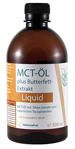 VITARAGNA MCT Öl und Ghee Extrakt als gebrauchsfertige All-In-One Lösung, laktosefrei, Butterfett Extract, Caprylsäure C-8, Caprinsäure C-10, 500 ml MCT-Oil, PET1 Flasche