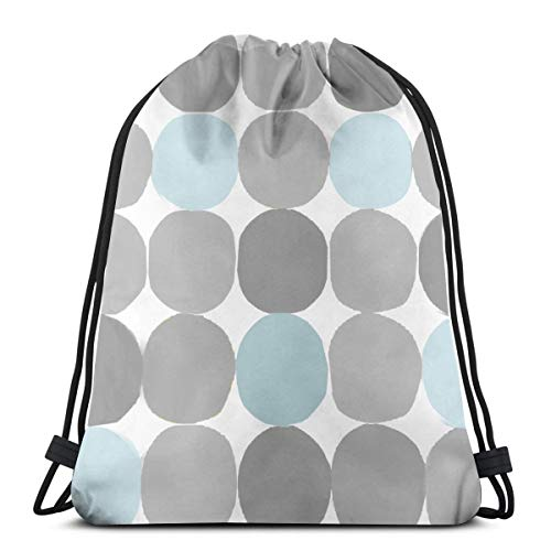 Round Grey and Blue1 Drawstring Rucksack Rucksack Umhängetaschen Leichte Sporttasche zum Wandern Yoga Gym Schwimmen Travel Beach 14,2 x 16,9 Zoll