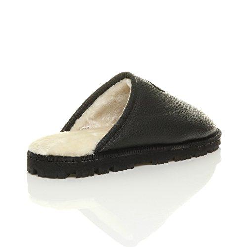 Hommes hiver fourrure luxe chaud confortable cadeau pantoufle chaussons pointure Mat noir