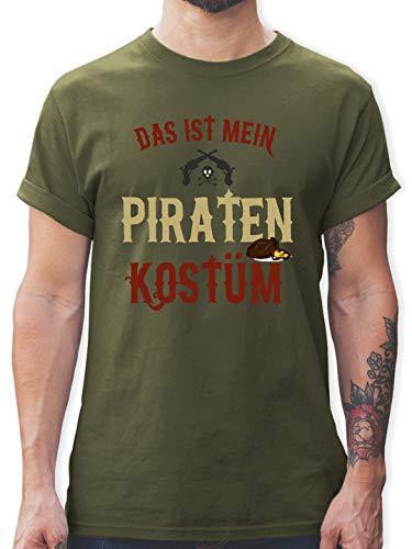 Karneval & Fasching - Das ist Mein Piraten Kostüm - L - Army Grün - L190 - Herren T-Shirt und Männer (Army Shorts Kostüm)
